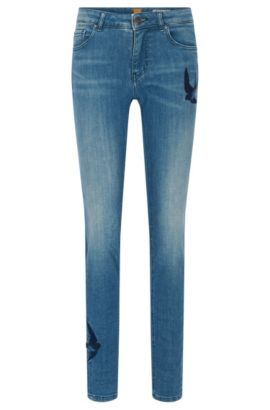 Jeans slim fit in denim super elasticizzato, Blu