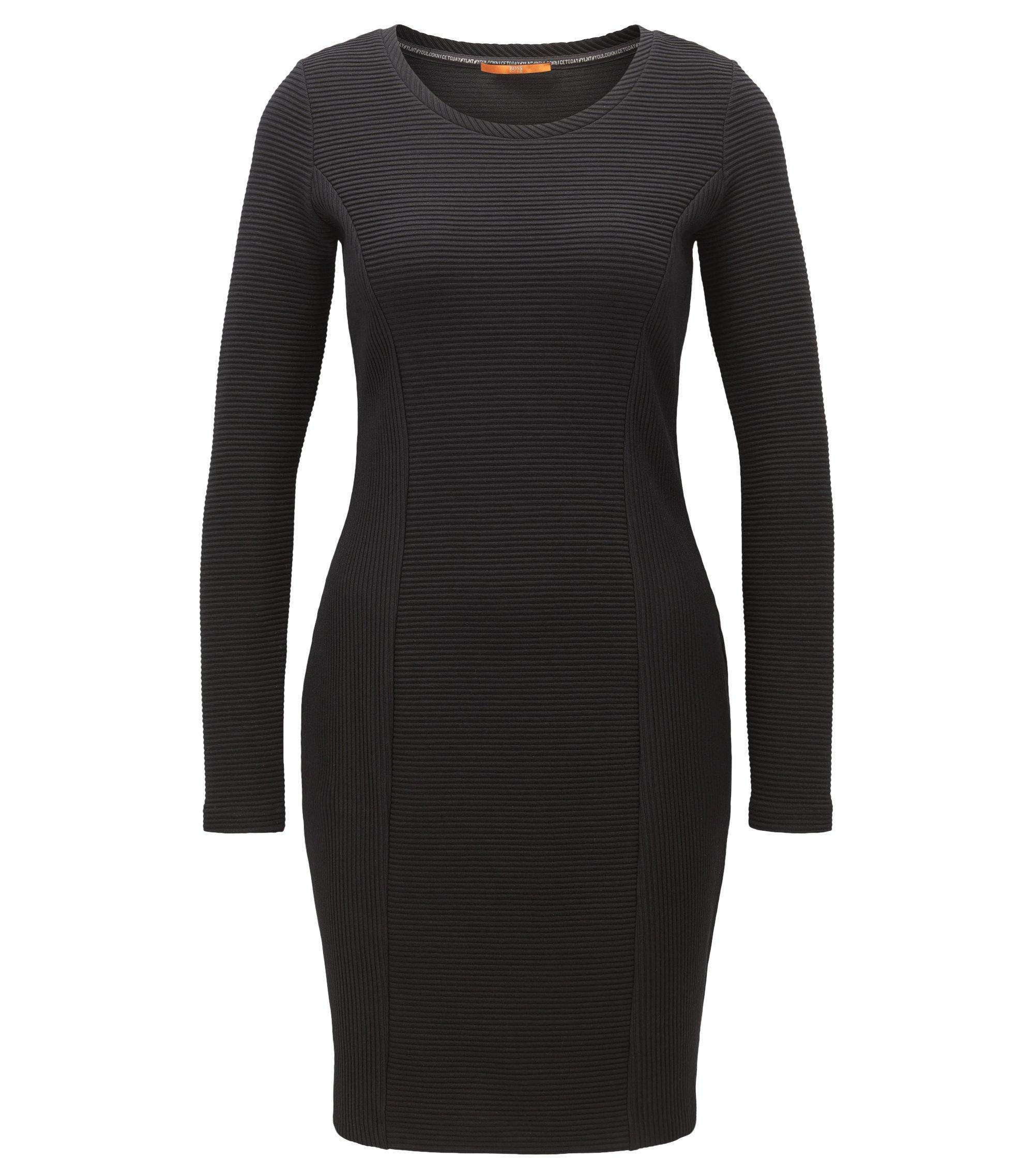 Vestido de manga larga en mezcla de algodón, Negro