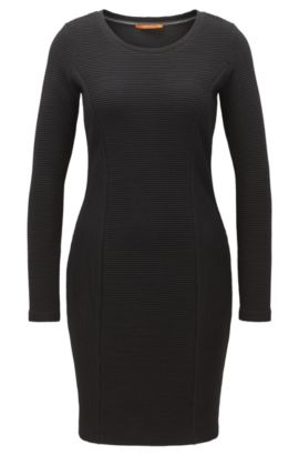 Long-sleeved dress in a cotton blend, Black