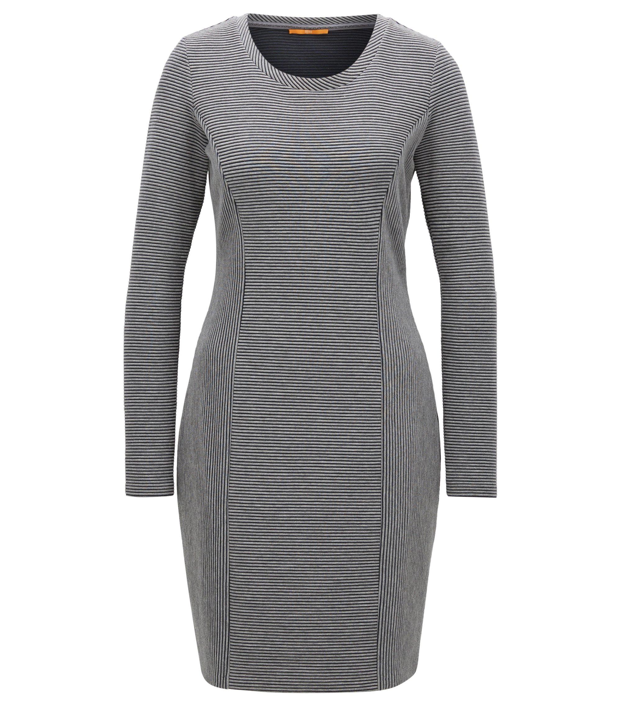 Regular-Fit Kleid aus elastischem Baumwoll-Mix mit langen Ärmeln, Grau