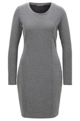 Long-sleeved dress in a cotton blend, Grey