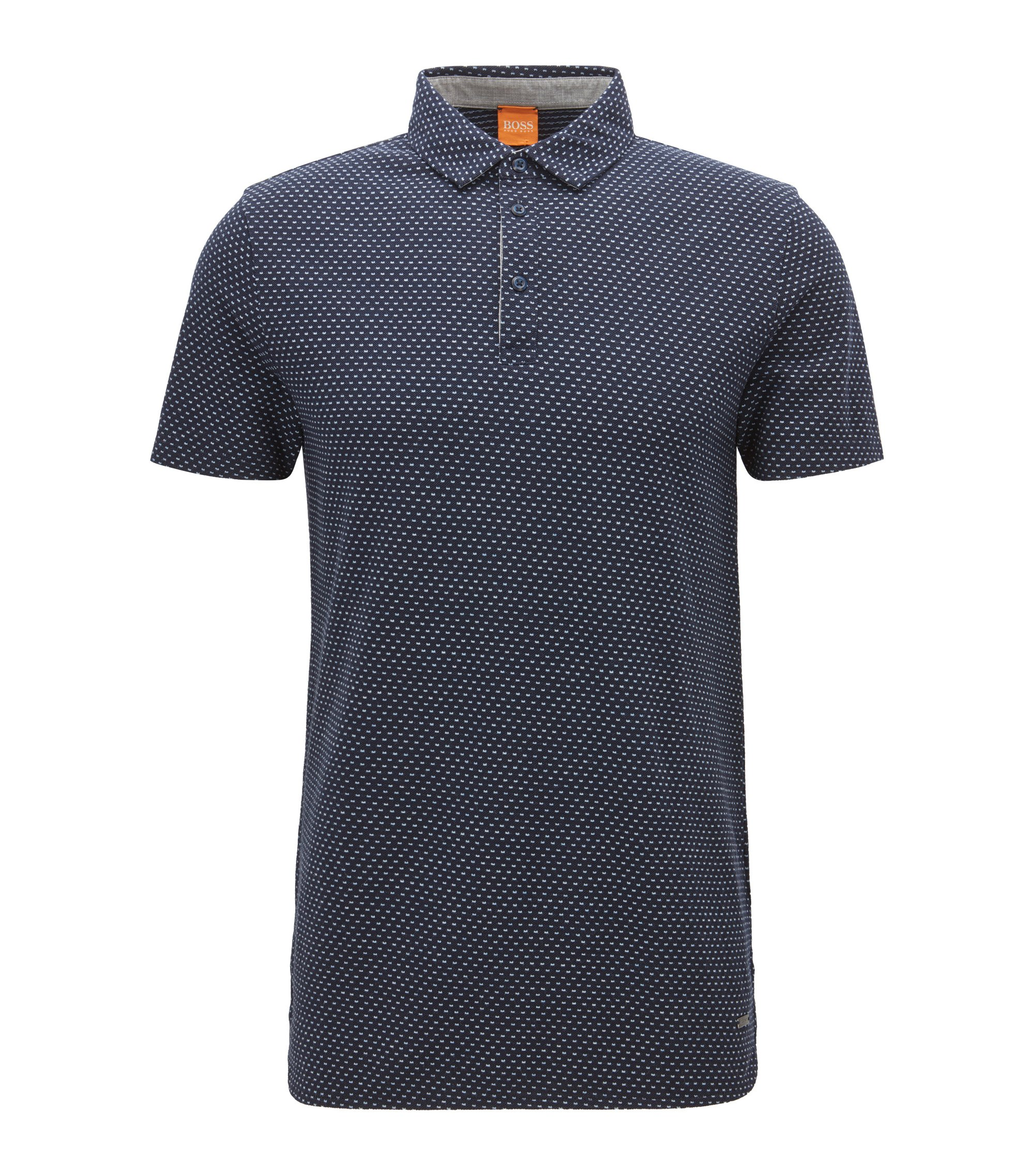 Polo regular fit in piqué a disegni, Blu scuro
