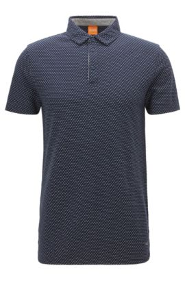 Regular-fit polo in piqué met dessin, Donkerblauw