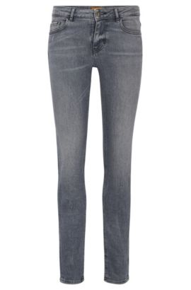 Slim-fit jeans van comfortabel stretchdenim, Grijs