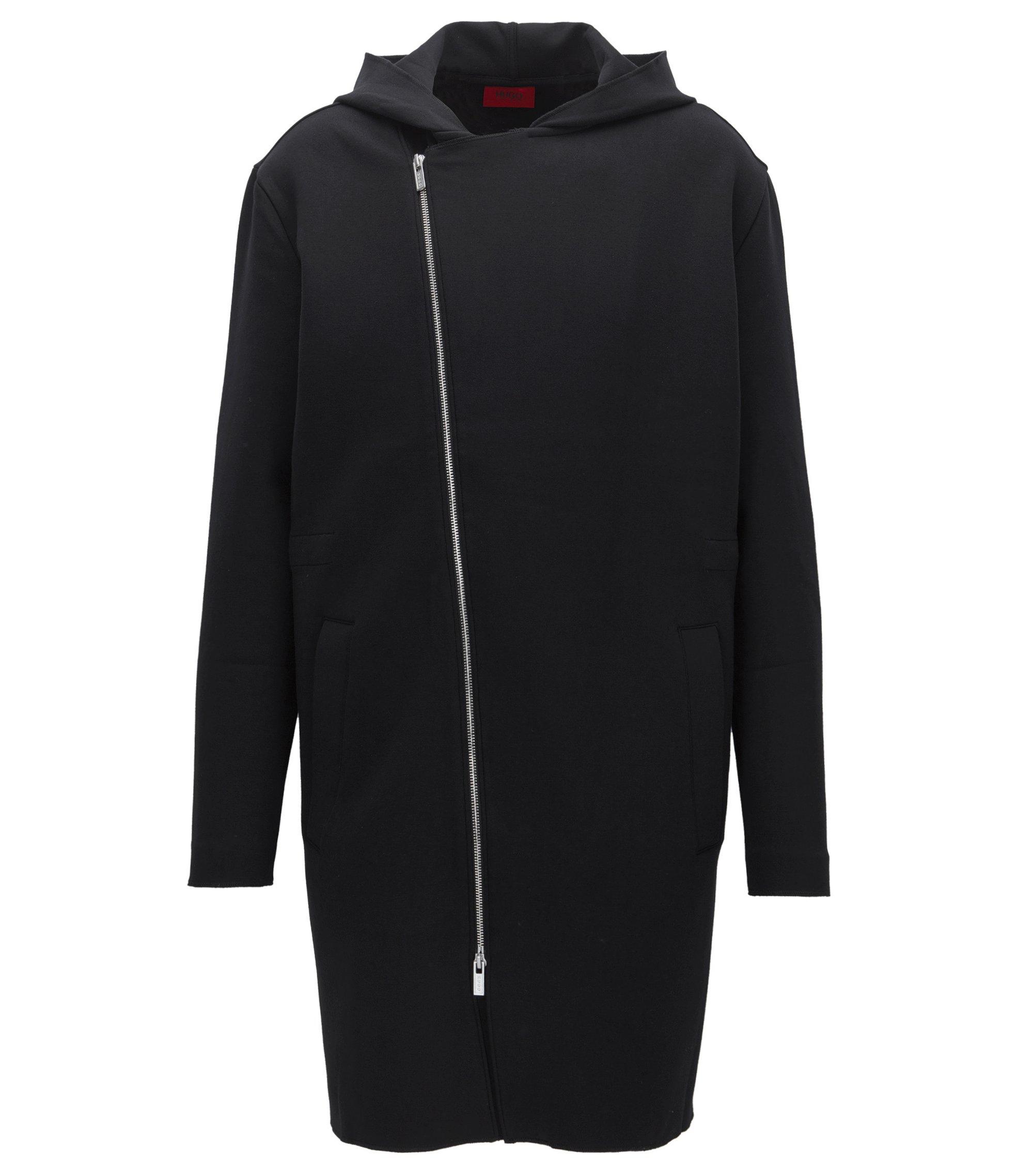 Sudadera extragrande con capucha y cremallera asimétrica en mezcla de algodón elástico, Negro