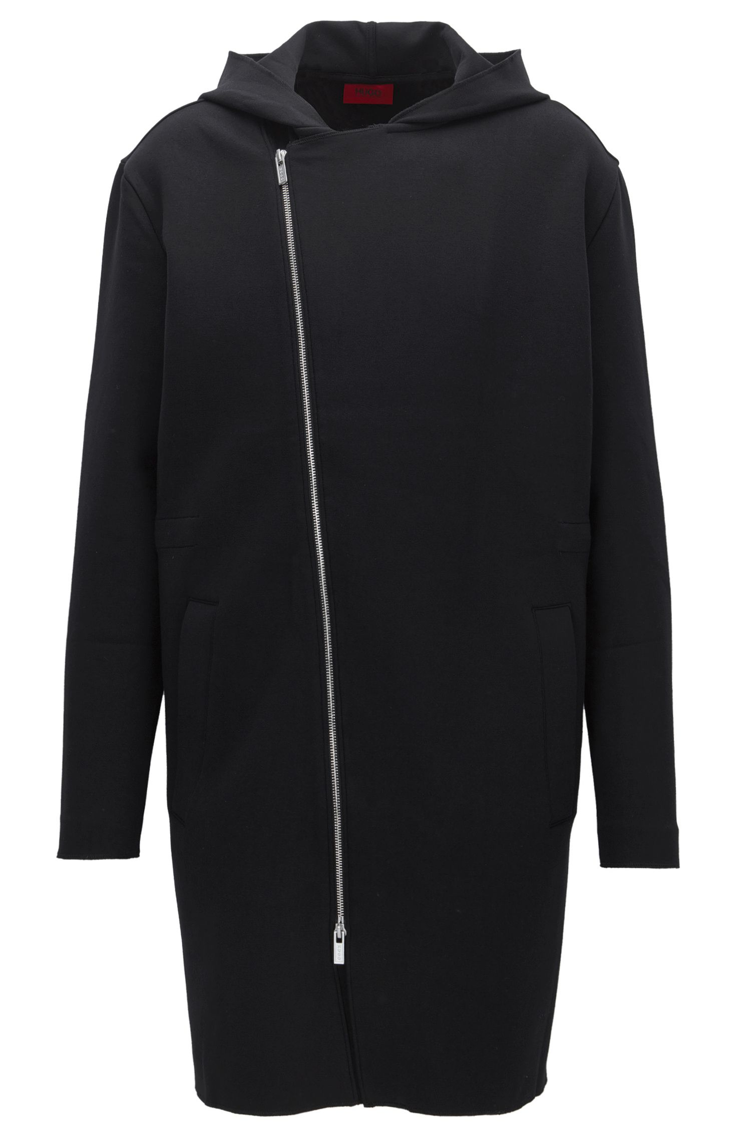 Oversized sweater met capuchon van een katoenmix met stretch en met een asymmetrische ritssluiting