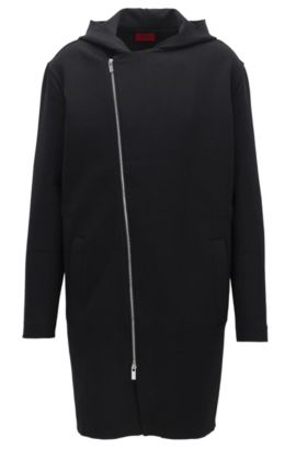 Oversized hooded sweatshirt with asymmetric zip in a stretch cotton blend, Black