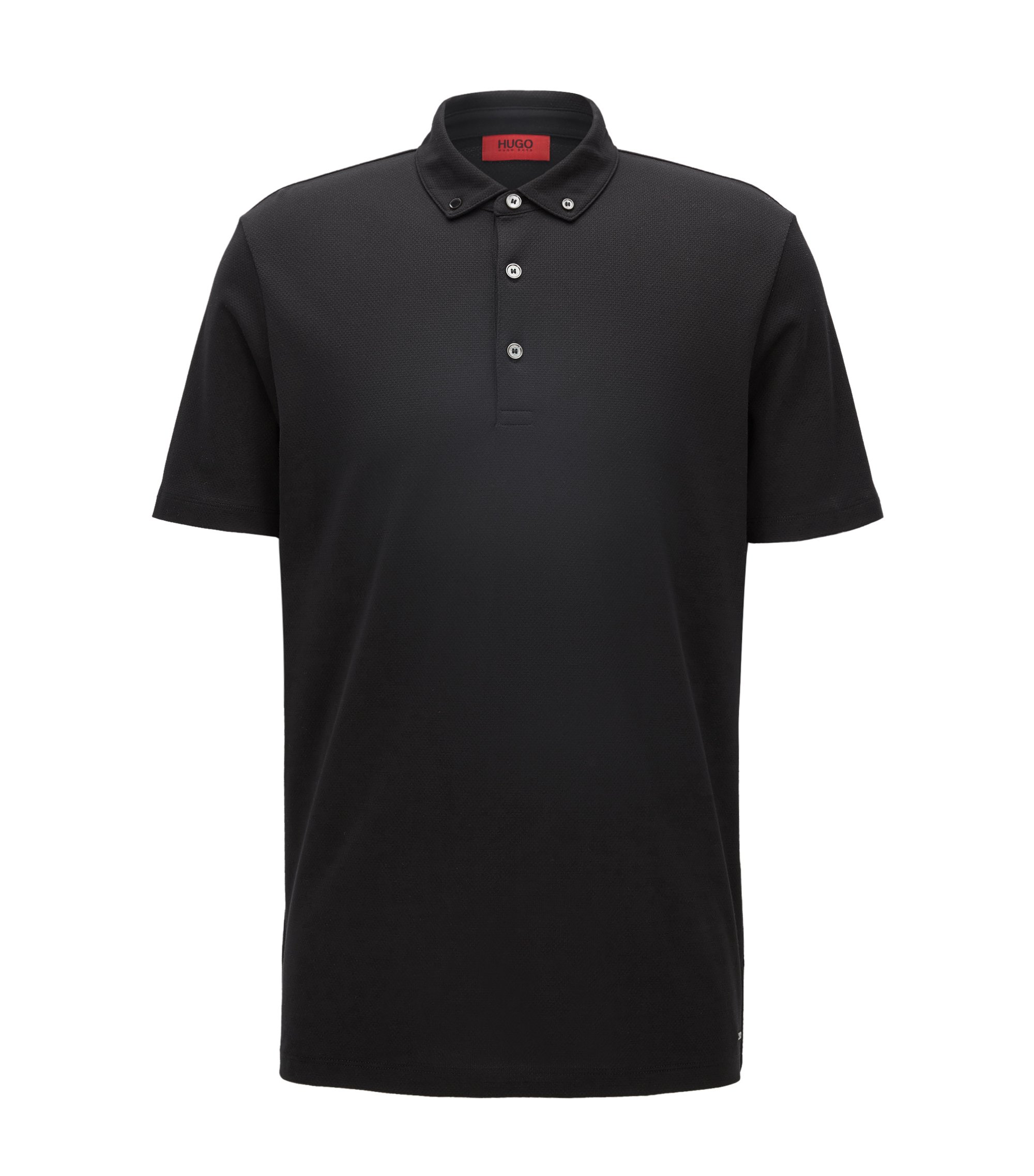 Polo Regular Fit en jacquard de coton, Noir