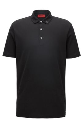 Polo regular fit in cotone jacquard, Nero