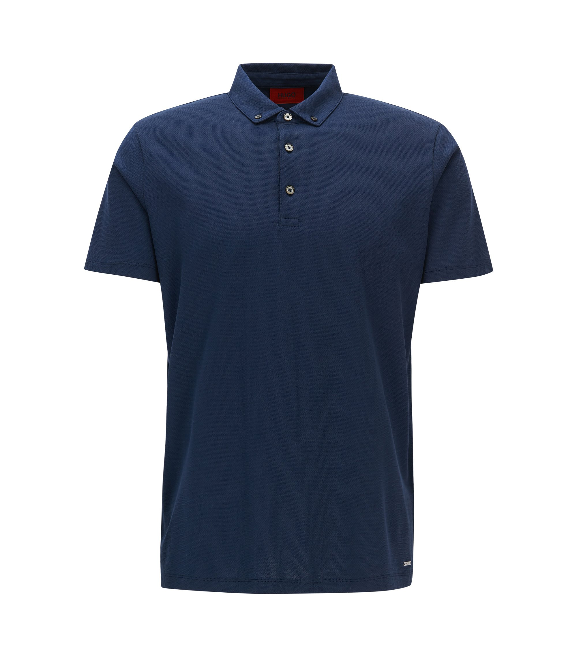 Regular-fit polo shirt in cotton jacquard, Dark Blue