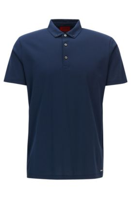 Regular-fit polo shirt in cotton jacquard, Dark Blue