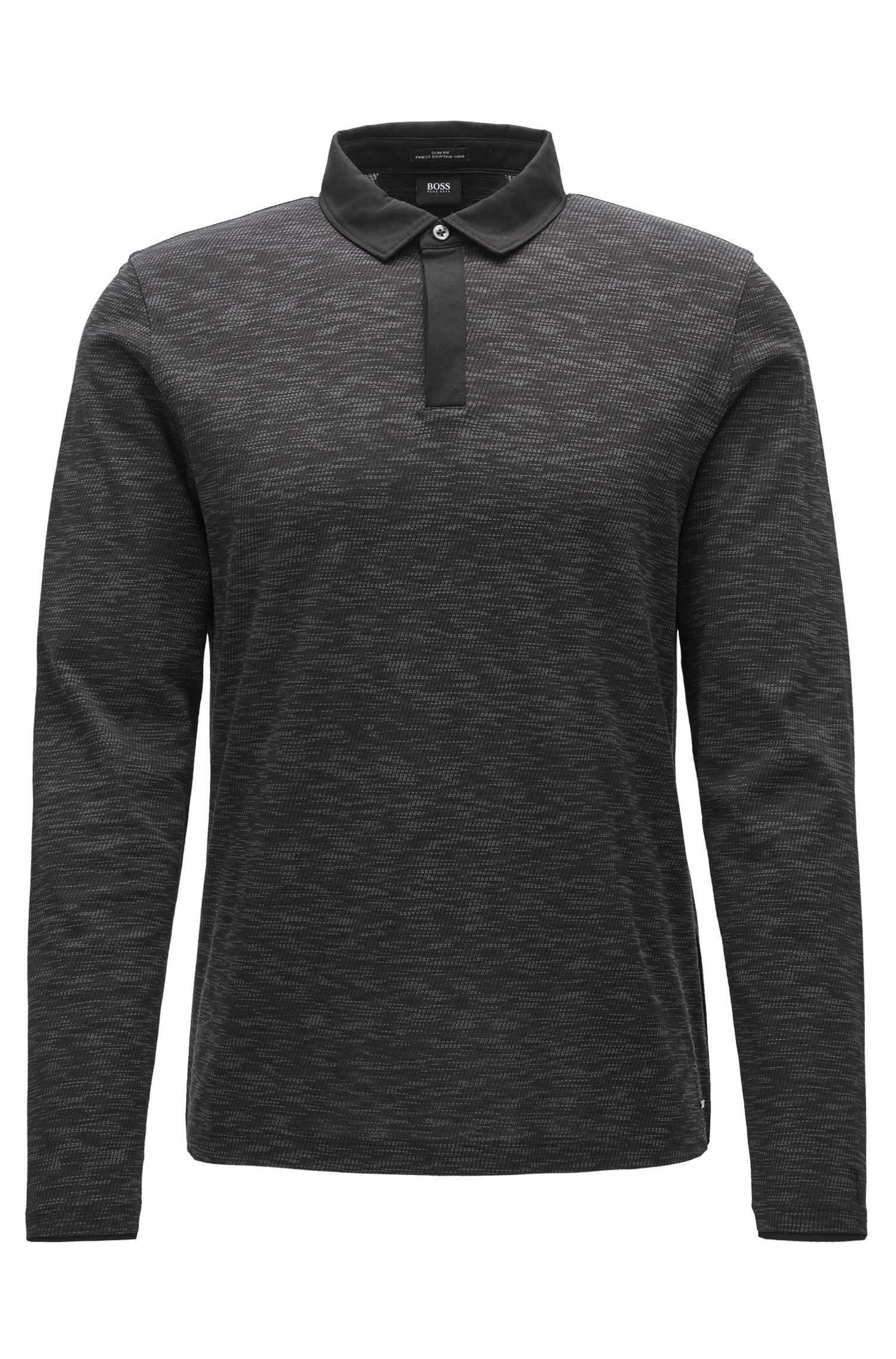 Long-sleeved slim-fit polo shirt in mercerised cotton jacquard
