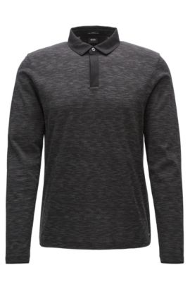 Long-sleeved slim-fit polo shirt in mercerised cotton jacquard, Black