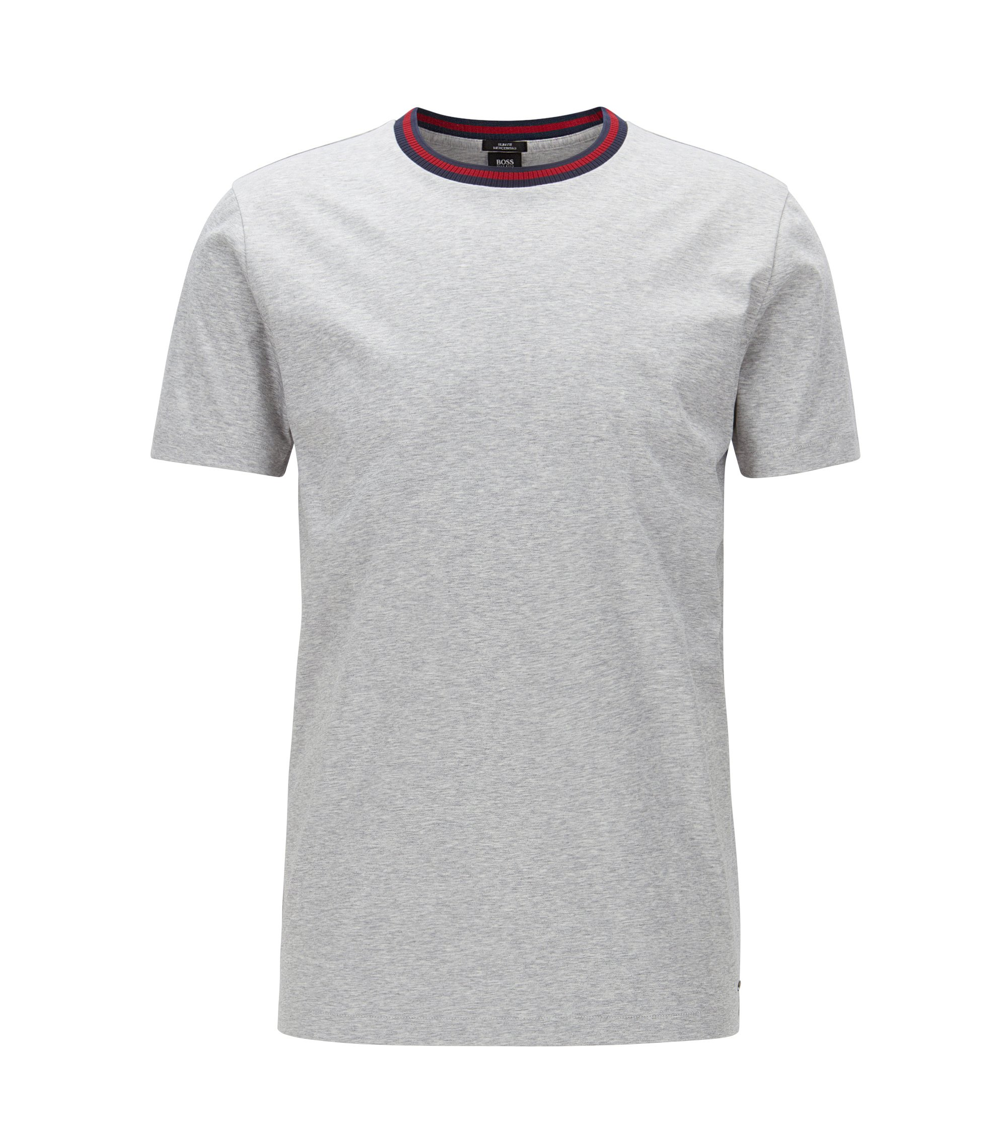 Slim-fit mercerised cotton T-shirt with contrast neck, Light Grey