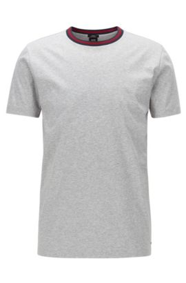 T-shirt Slim Fit en coton mercerisé à encolure contrastée, Gris chiné