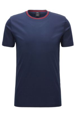 Slim-fit mercerised cotton T-shirt with contrast neck, Dunkelblau