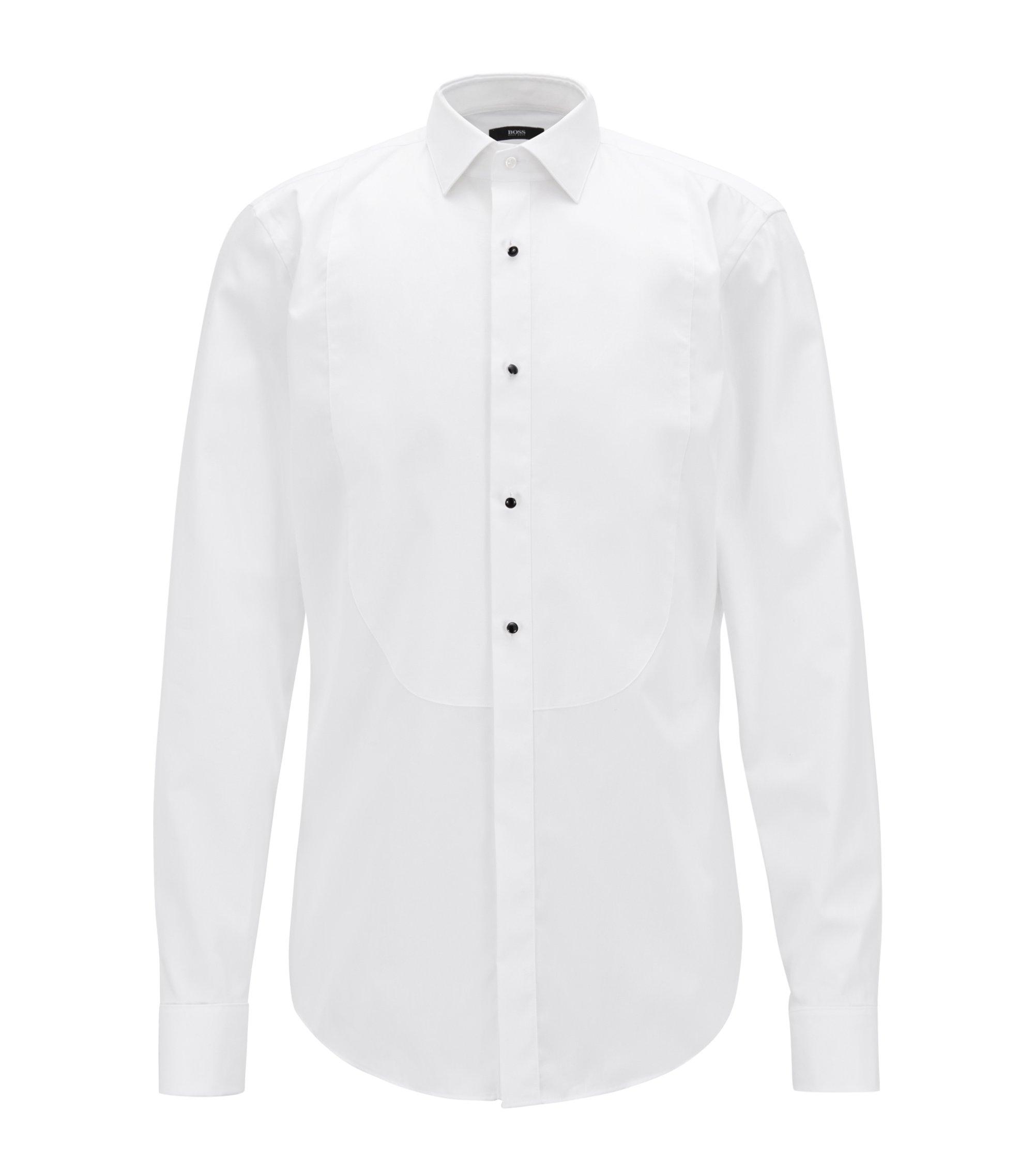 Feestelijk slim-fit overhemd van zuivere katoen , Wit
