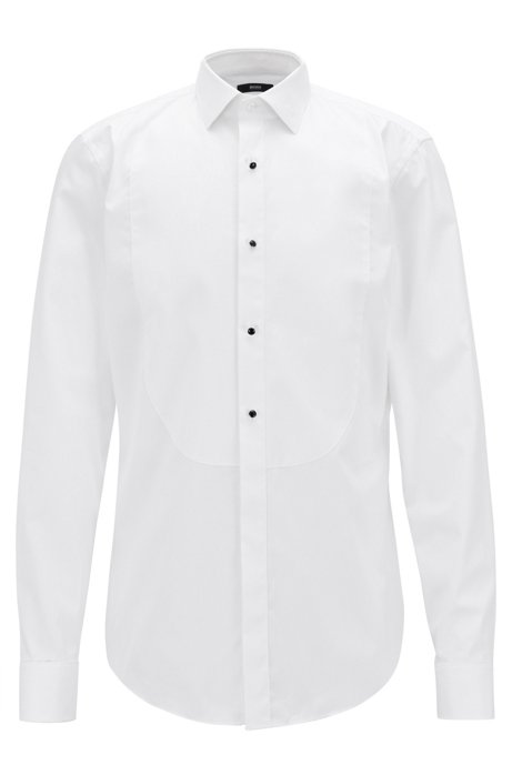 Outlet For Sale Formal slim-fit shirt in pure cotton BOSS Cheap Sale Good Selling The Cheapest HIquAWT