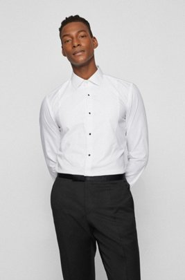 Slim-fit evening shirt in easy-iron cotton, White