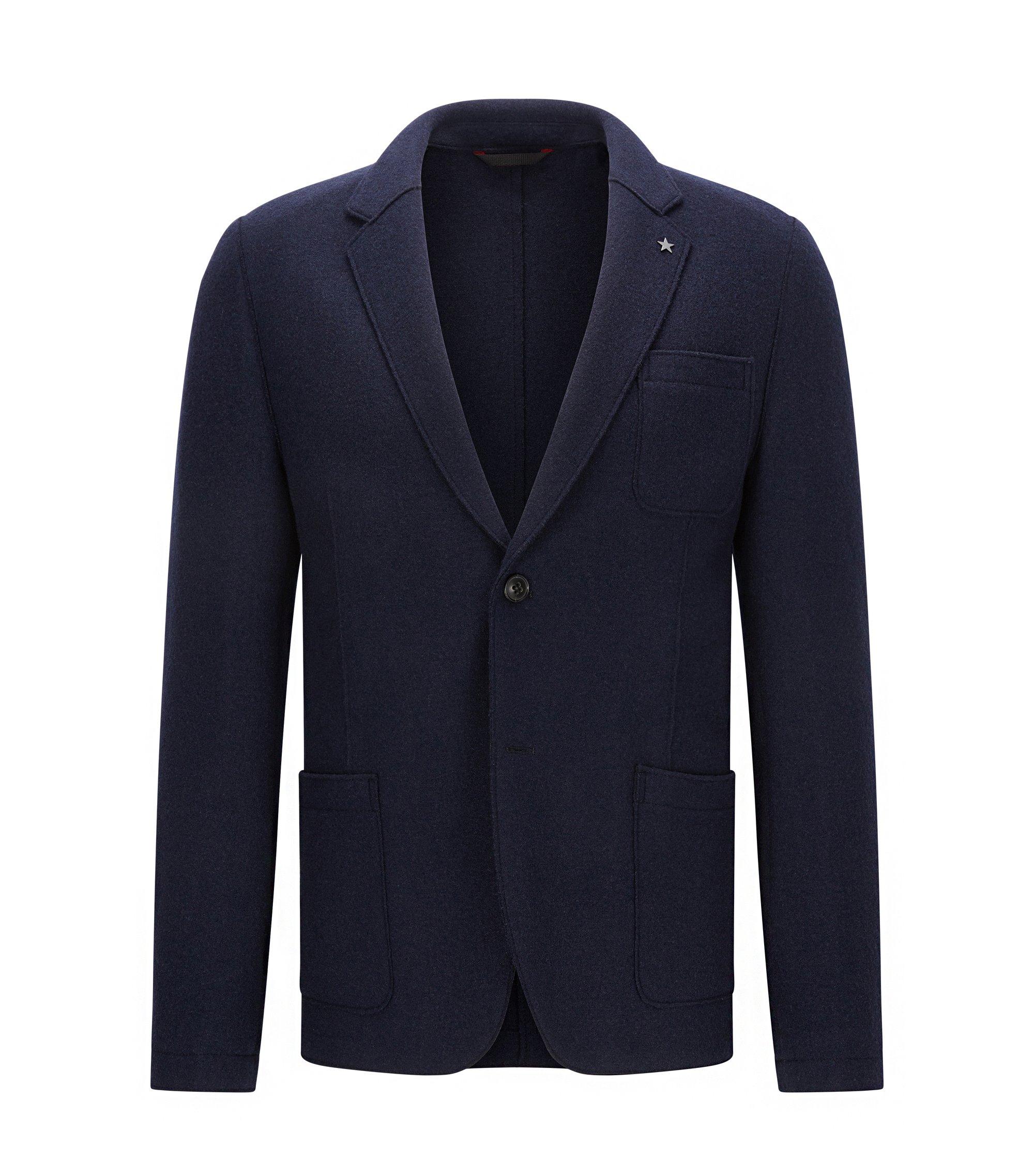 Veste Slim Fit en laine vierge mélangée, à bords bruts, Bleu foncé