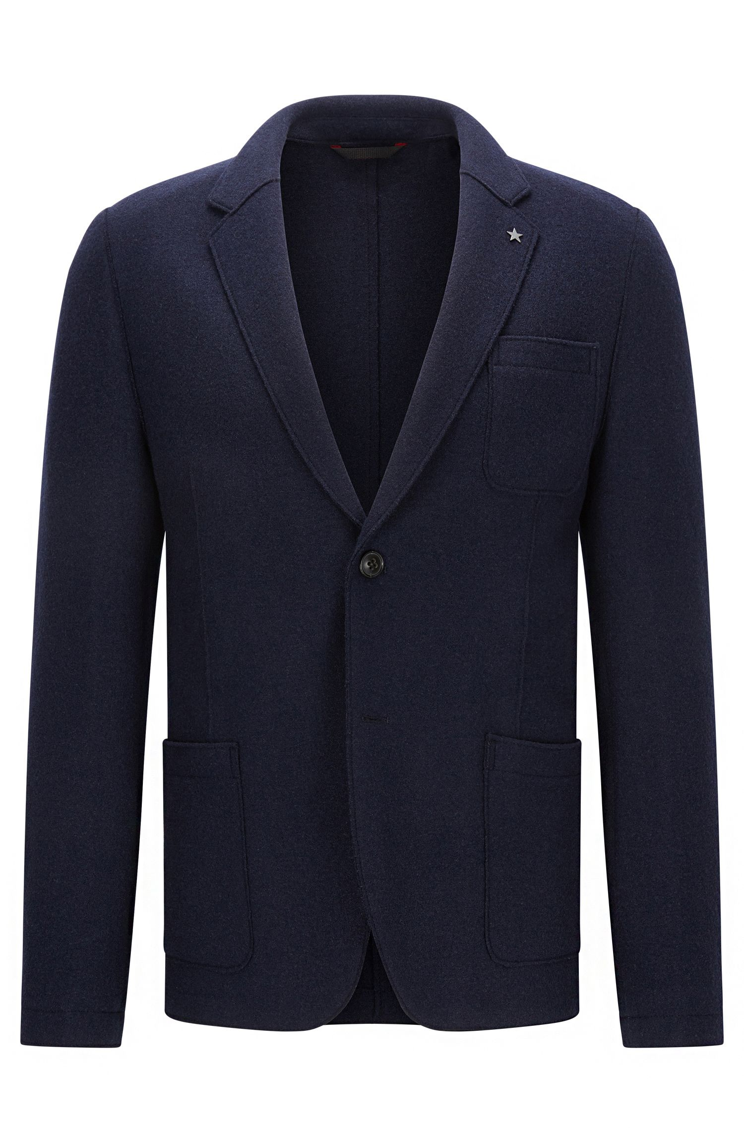 Slim-fit raw-edged jacket in virgin wool blend
