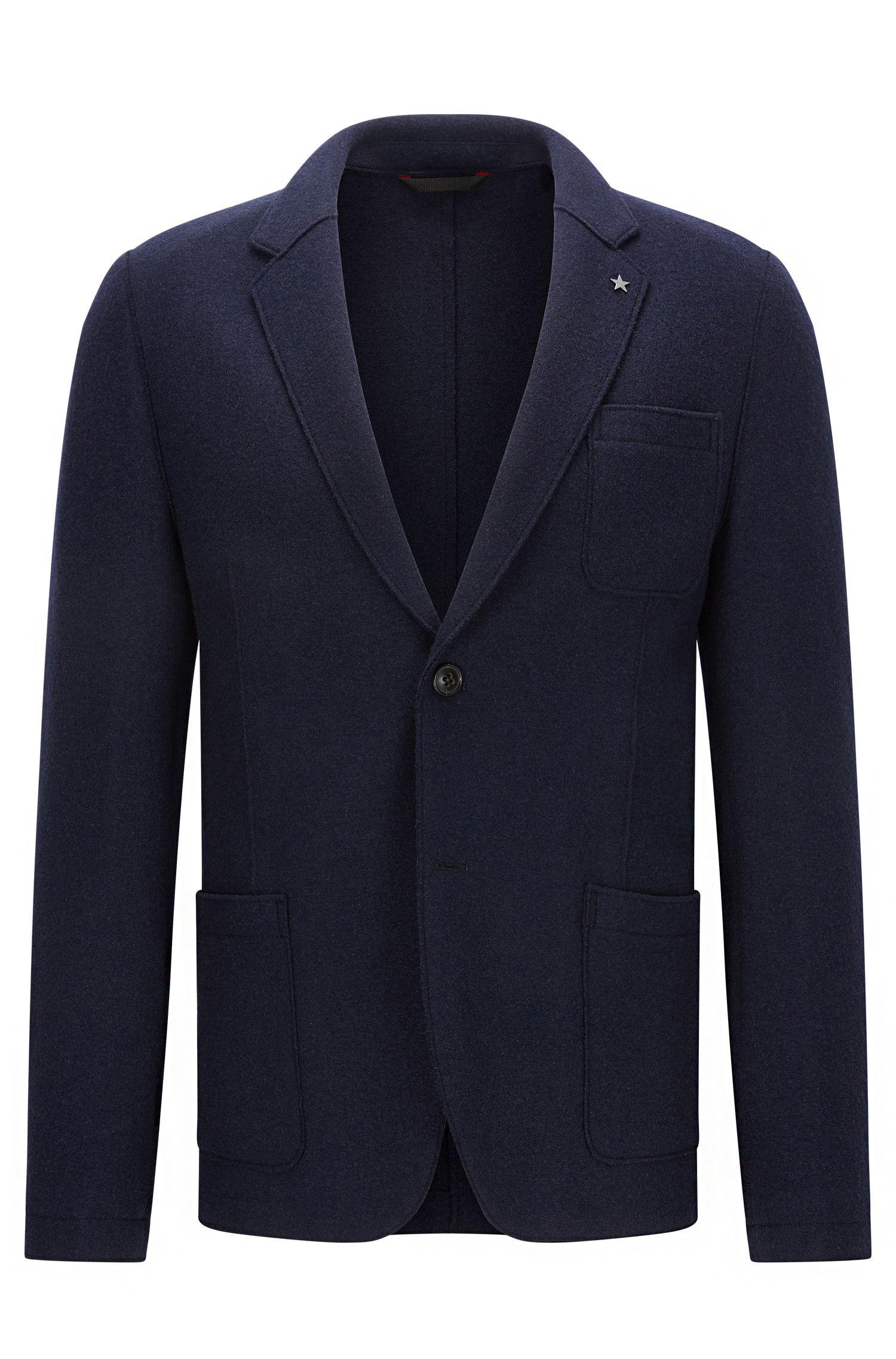 Slim-fit raw-edged jacket in virgin wool blend
