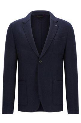 Slim-fit colbert van een scheerwolmix met ruwe randen, Donkerblauw