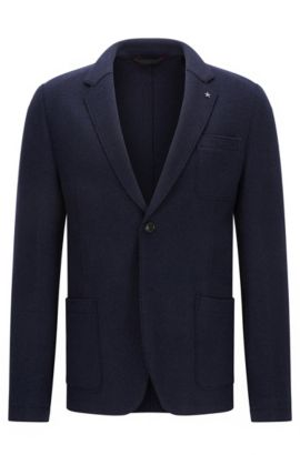 Slim-fit raw-edged jacket in virgin wool blend, Dark Blue