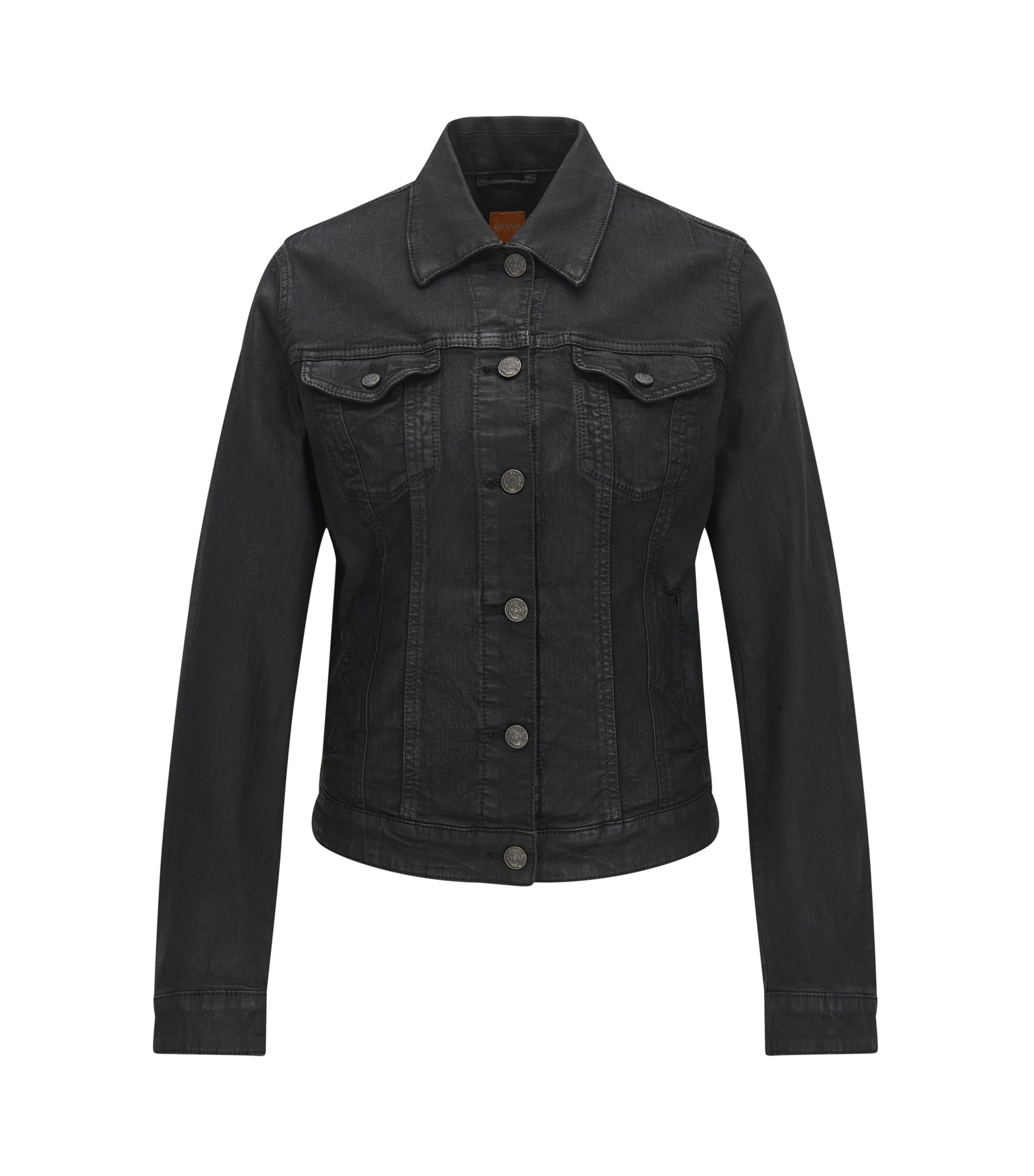 Regular-fit black stretch-denim jacket with lustrous finish, Black