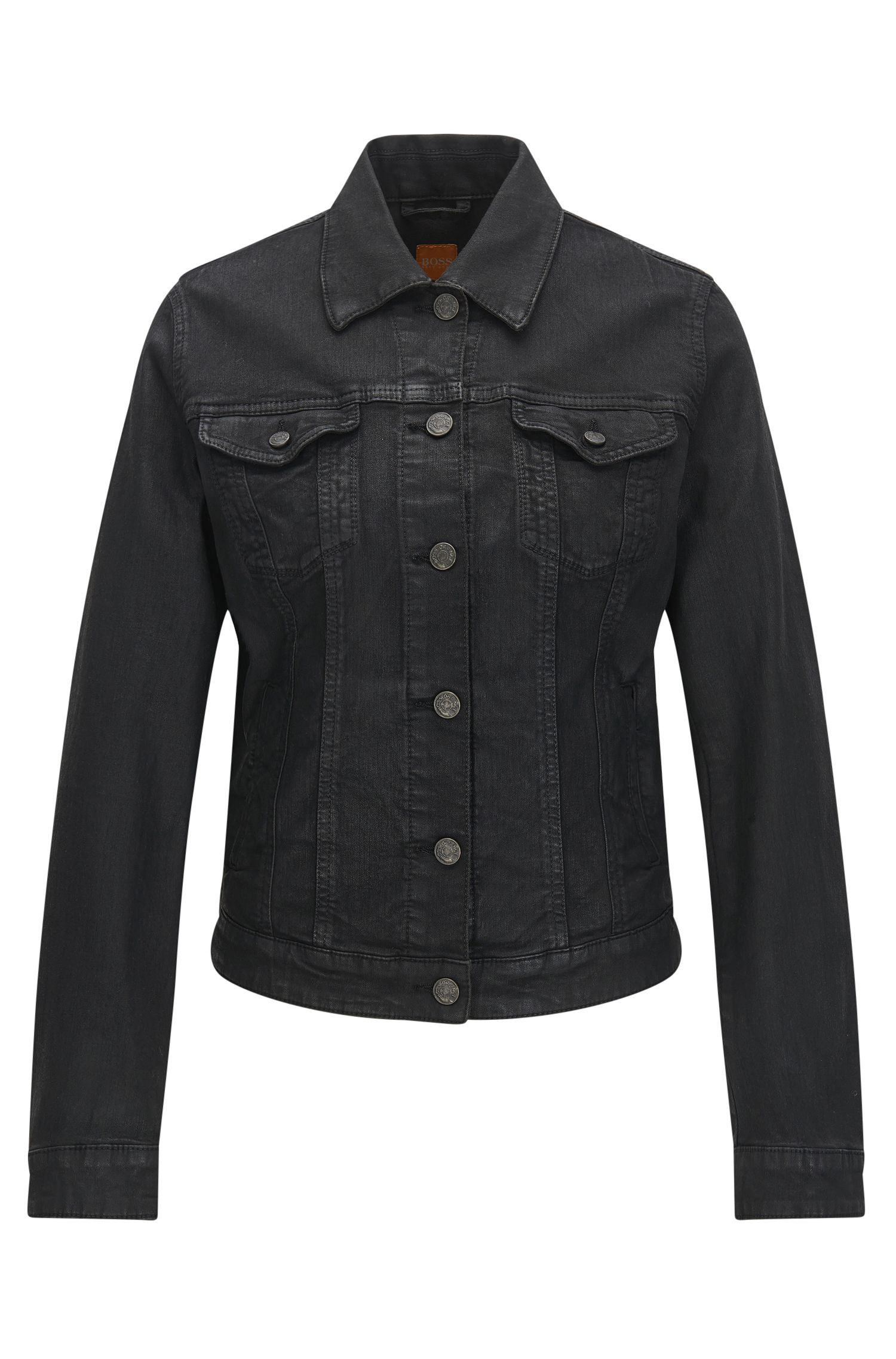 Giacca regular fit in denim elasticizzato nero con finitura lucente