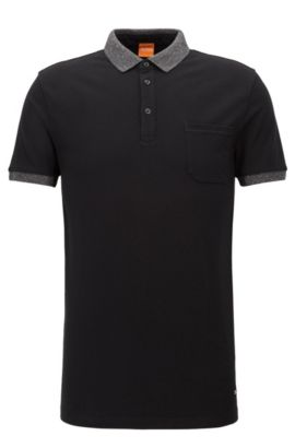 Regular-fit polo shirt in cotton piqué, Black