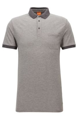 Polo regular fit en piqué de algodón, Gris claro