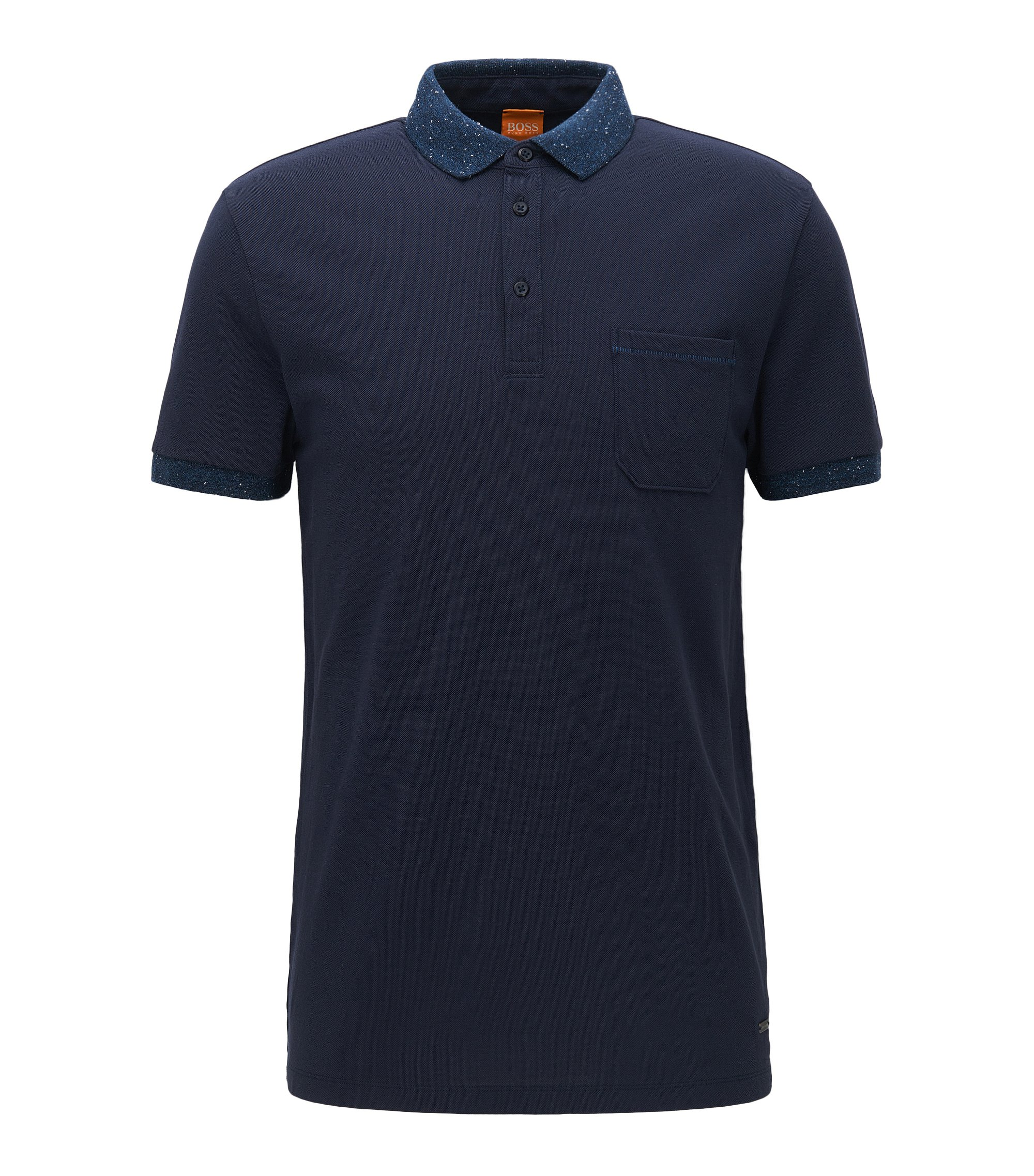 Regular-fit poloshirt in katoenpiqué, Donkerblauw