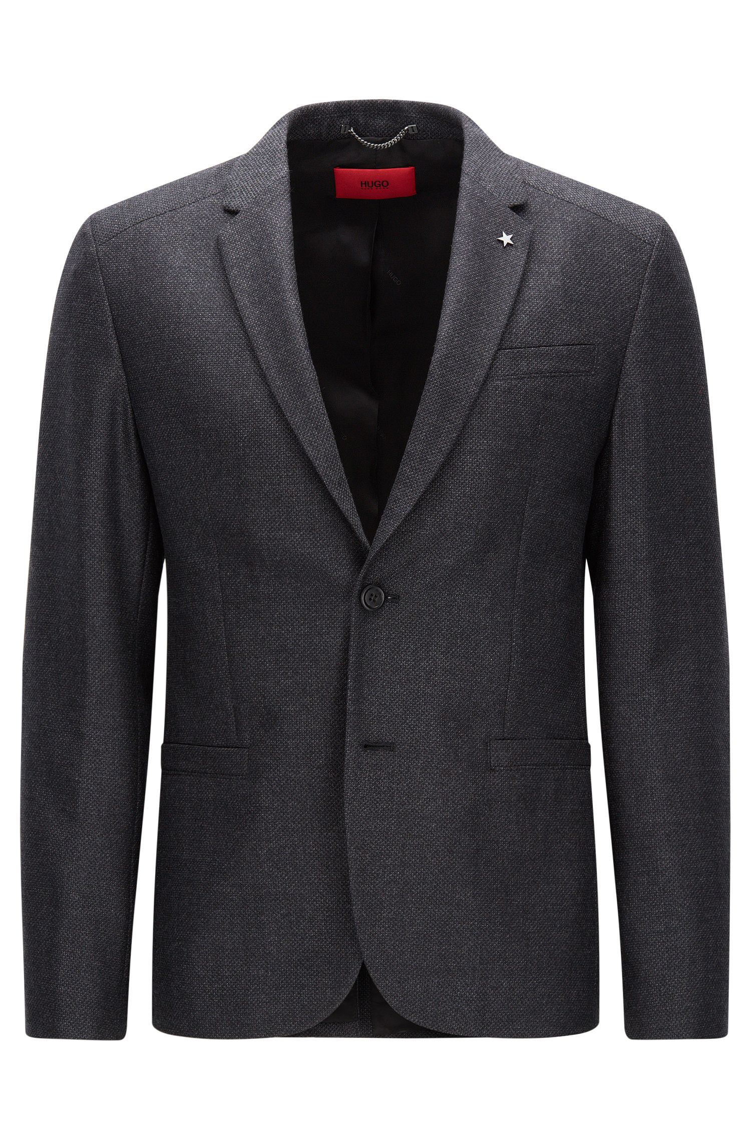 Slim-fit jacket in virgin wool with elbow patches