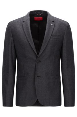 Slim-fit jacket in virgin wool with elbow patches, Anthracite