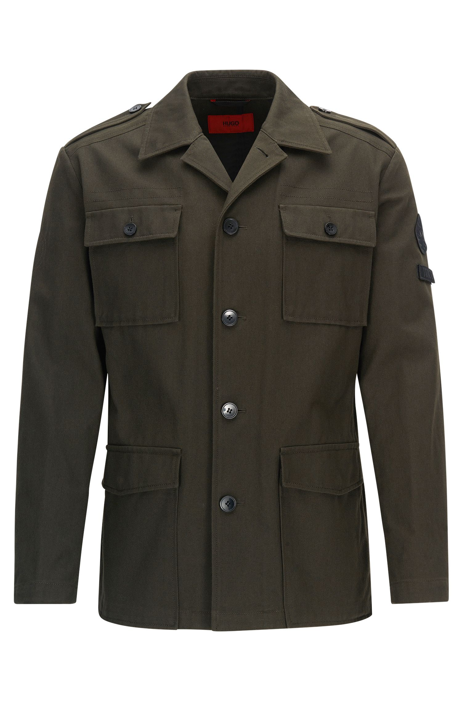 Regular-Fit Jacke aus Baumwoll-Twill