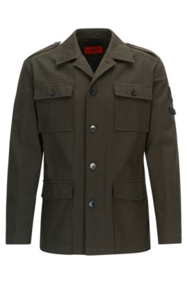 Veste Regular Fit en twill de coton, Vert sombre