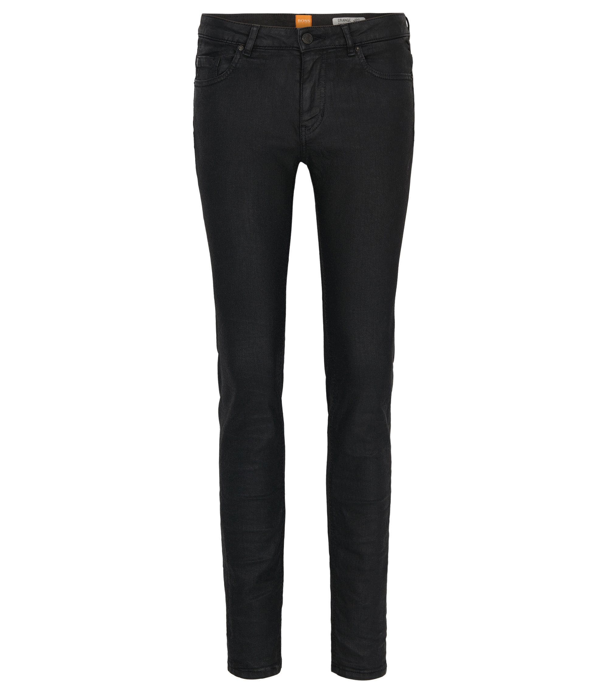 Jeans Slim Fit en denim stretch enduit, Noir