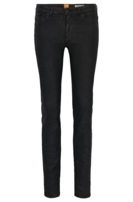 Jeans slim fit in denim elasticizzato rivestito, Nero