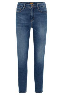 Jeans tapered fit in denim elasticizzato slub yarn, Blu scuro