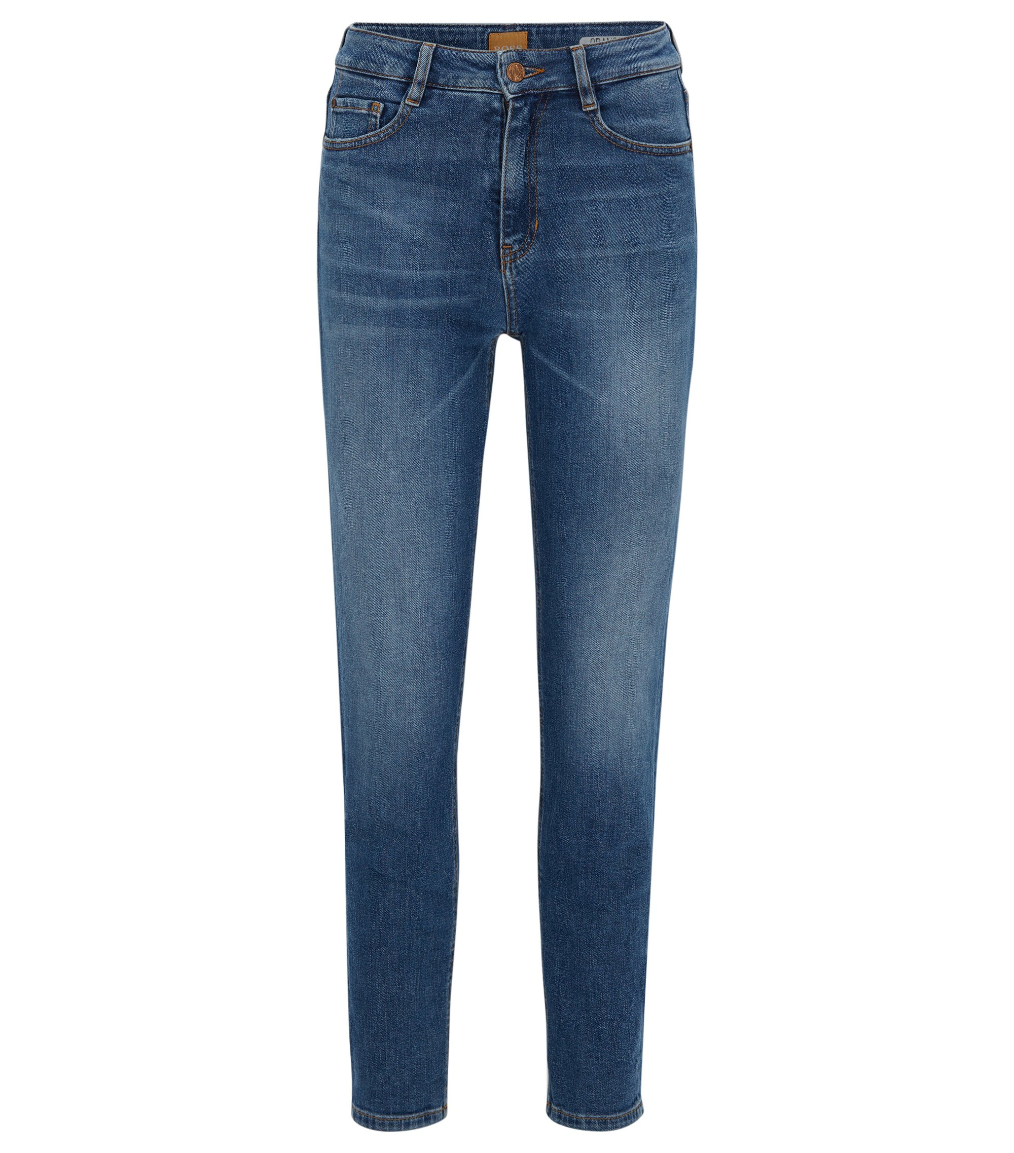 Jeans tapered fit in denim elasticizzato slub yarn, Blu scuro