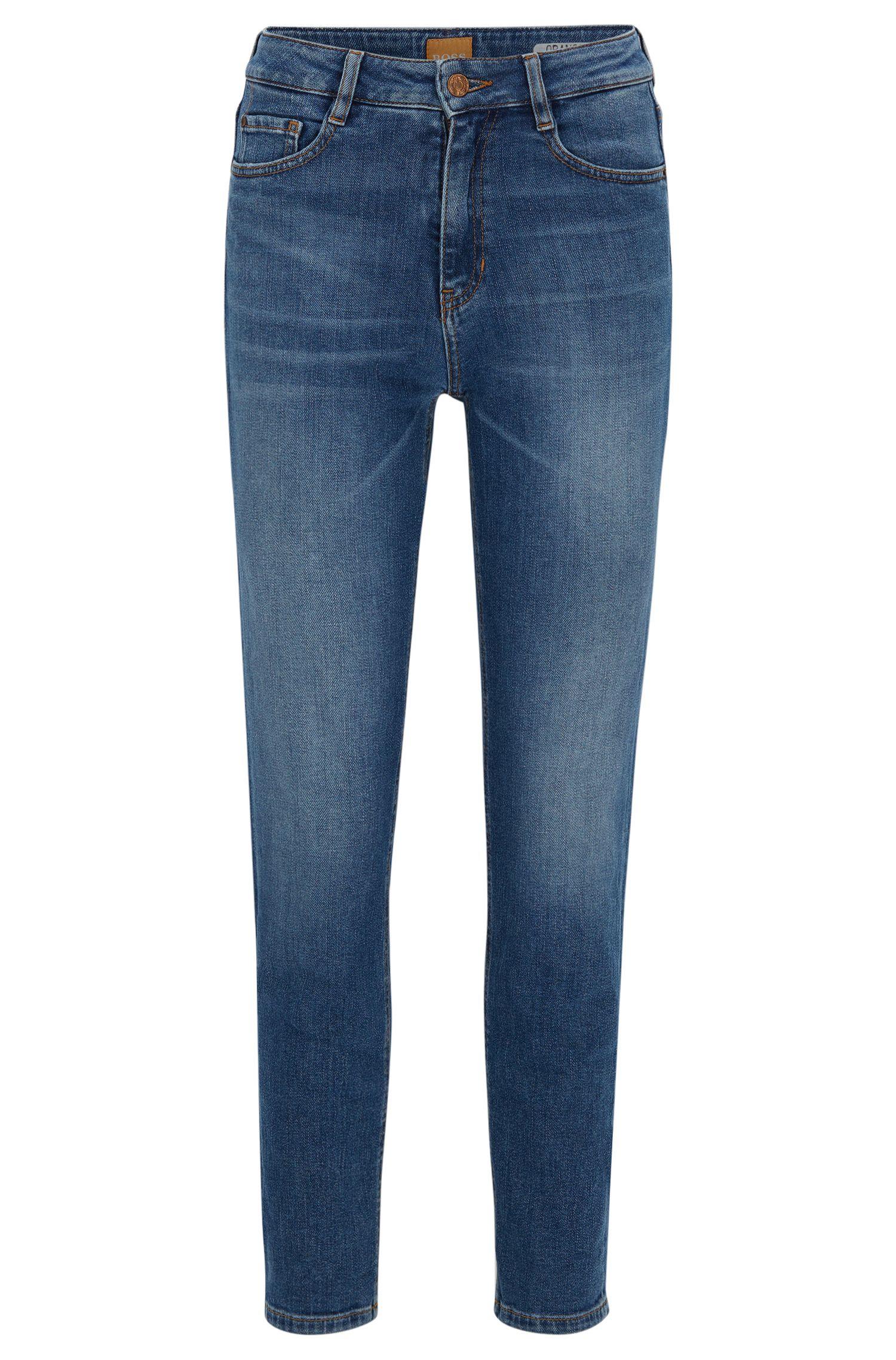 Jeans Tapered Fit en denim flammé stretch