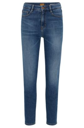 Jeans Tapered Fit en denim flammé stretch, Bleu foncé