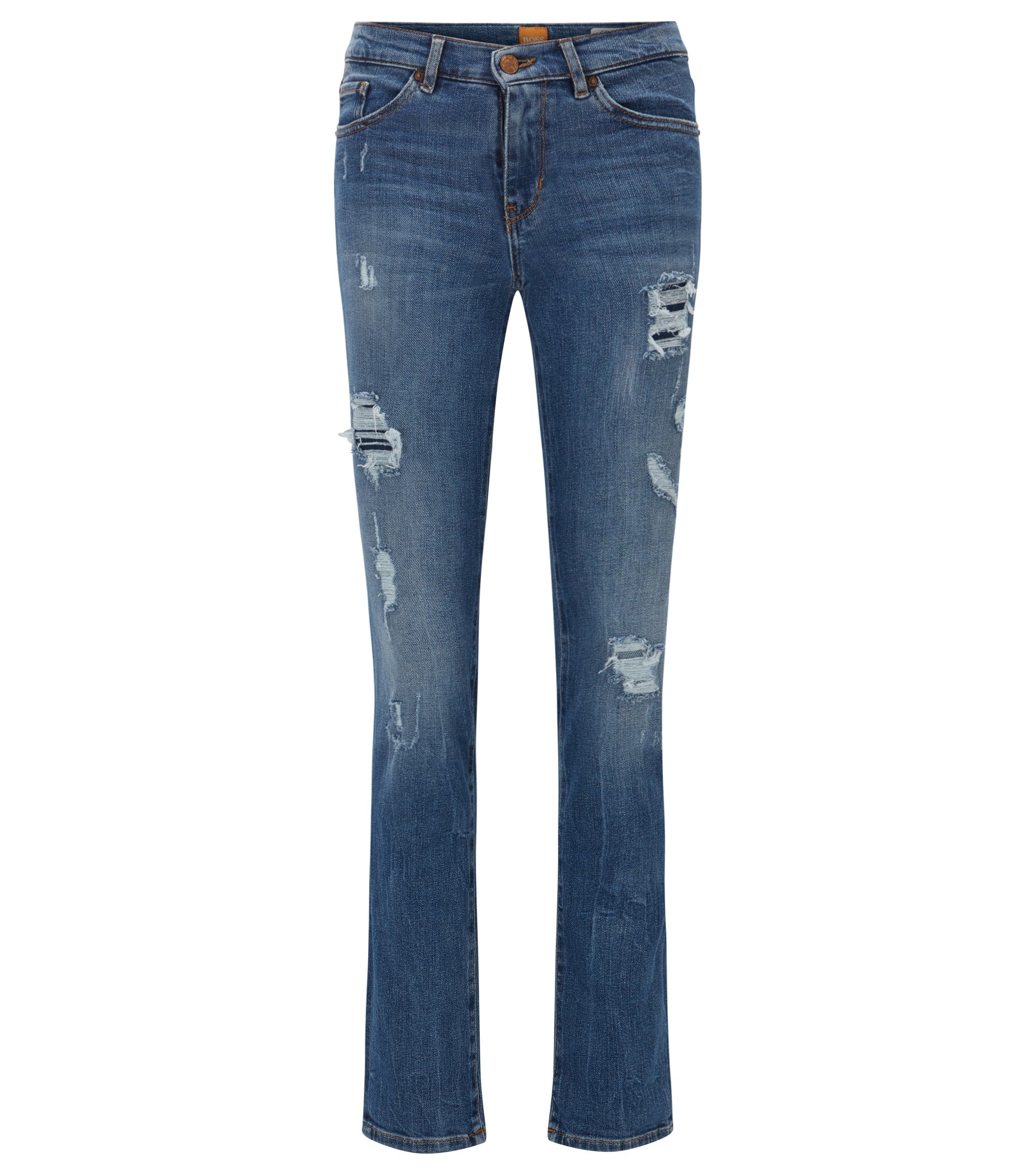 Jeans Slim Fit en denim stretch flammé confortable, Bleu