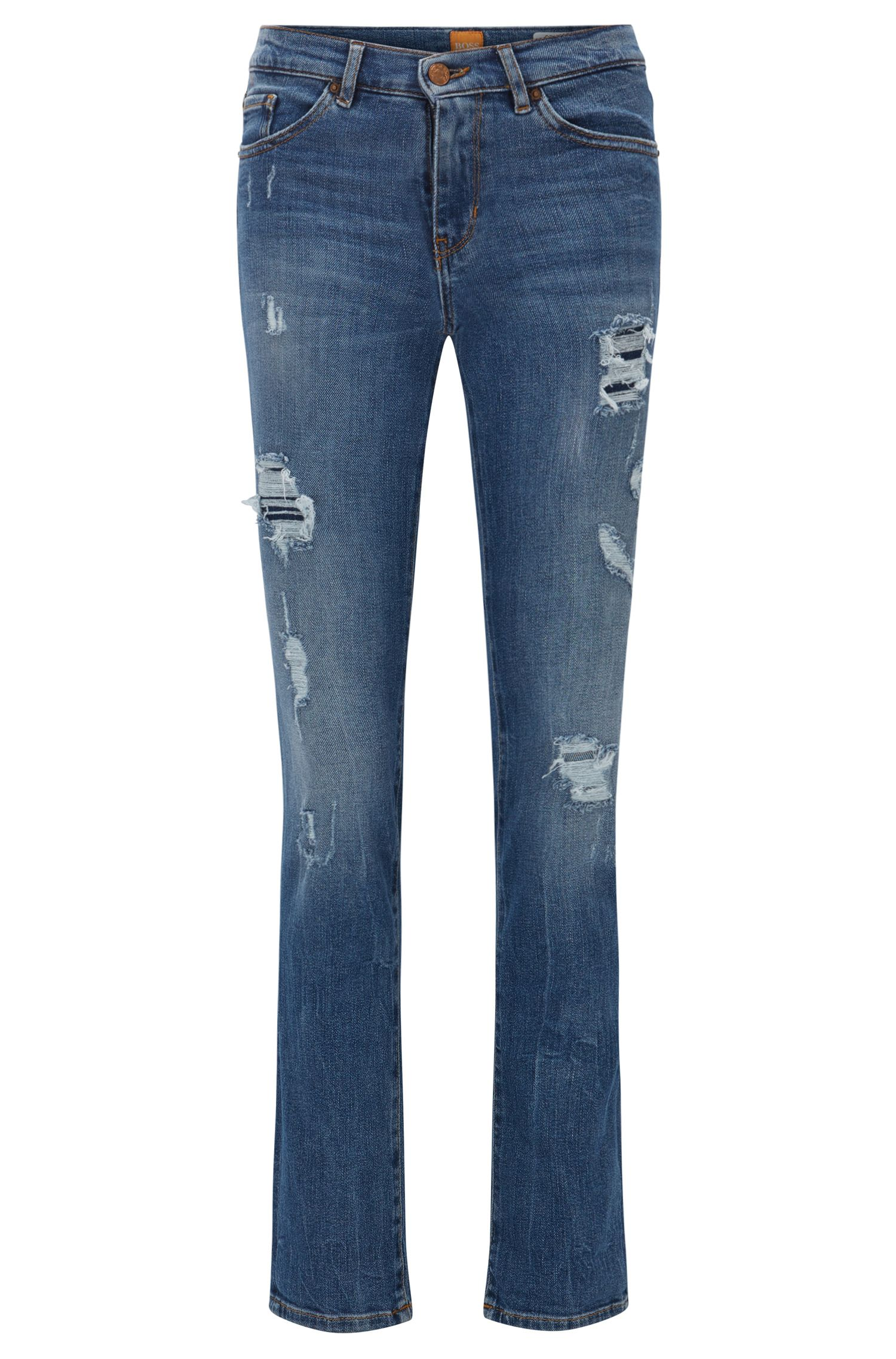 Slim-fit jeans in slub comfort-stretch denim