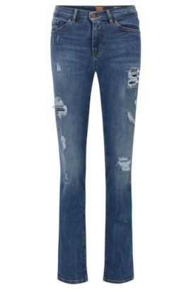 Slim-Fit Jeans aus komfortablem Stretch-Denim mit Flammgarn, Blau