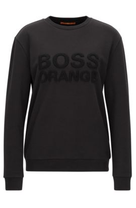 Crew-neck sweater in French terry, Black