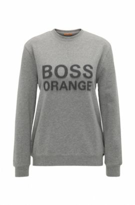 Crew-neck sweater in French terry, Grey