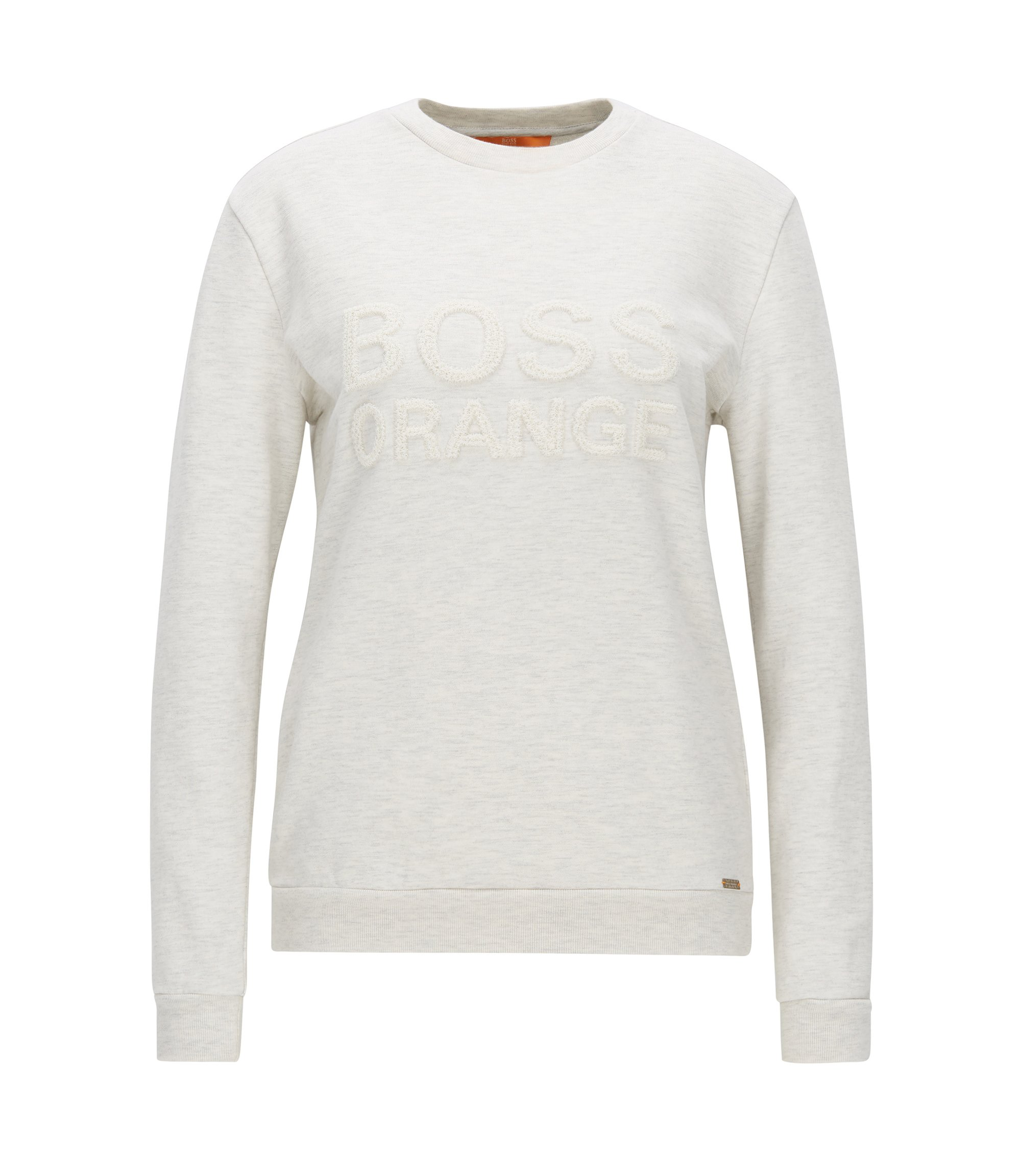 Crew-neck sweater in French terry, Natural