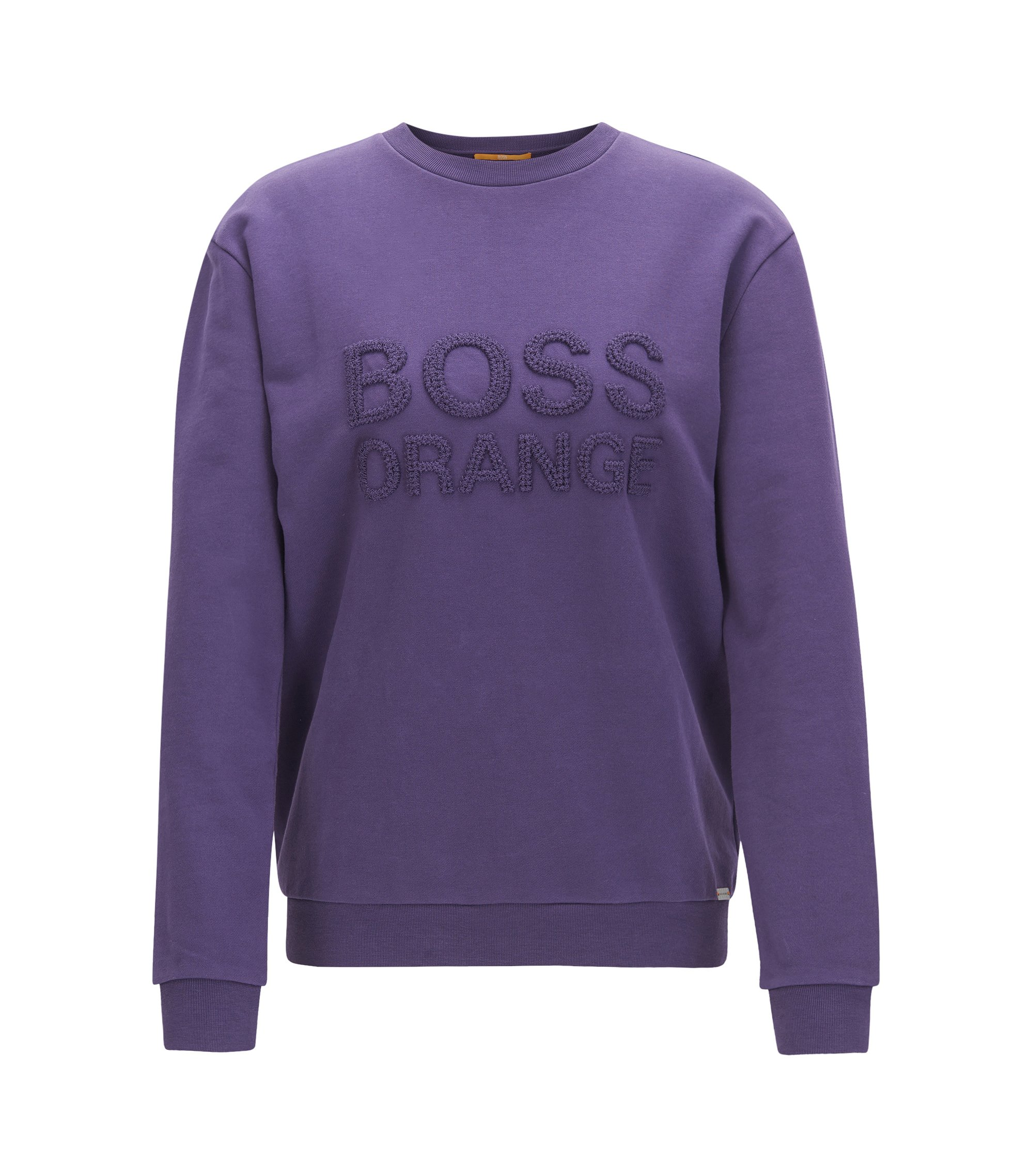 Crew-neck sweater in French terry, Dark Purple
